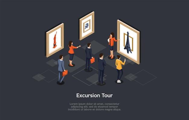 Konzeptionelle darstellung. vektor isometrische zusammensetzung, cartoon 3d-stil. ausflugsideen. gruppe von personen, die sich eine bildausstellung mit berühmten schauplätzen ansehen. arbeiterin zeigt prunkstücke