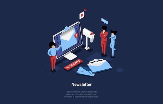 Konzeptionelle illustration des isometrischen newsletters im isometrischen stil.