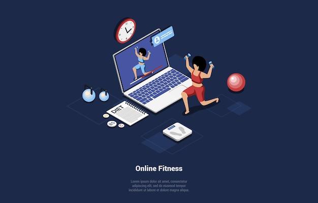 Konzeptionelle isometrische online-fitness-illustration auf blauem dunkel