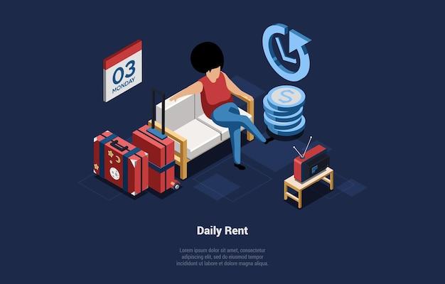 Konzeptionelle vektor-illustration zur täglichen miete von immobilien. hauskredite. isometrische zusammensetzung im cartoon-3d-stil auf dunklem hintergrund. frau sitzt auf couch mit koffern vor dem fernseher.