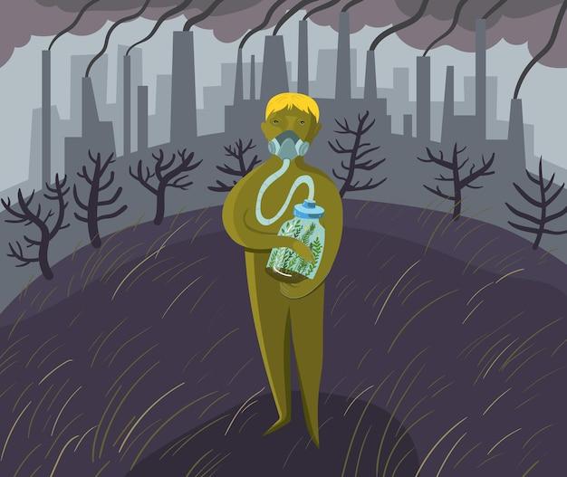 Konzeptionelle vektorillustration ein mann in einer gasmaske vor dem hintergrund von fabriken und rauch