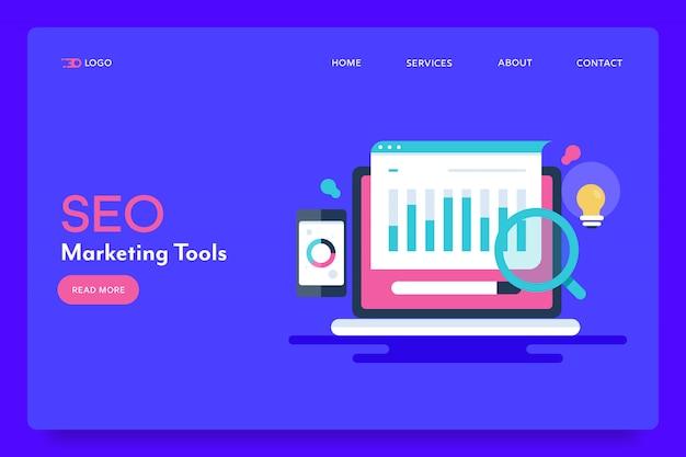 Konzeptionelle zielseite für seo-tools