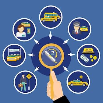 Konzeptionelle zusammensetzung des taxis mit runden bildern von taxis von taxifahrern und illustration von 24-stunden-bestellpiktogrammen