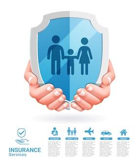 Konzeptionelle zwei hände der versicherungsdienstleistungen mit schildabbildungen.