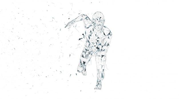 Konzeptioneller abstrakter laufender mann.