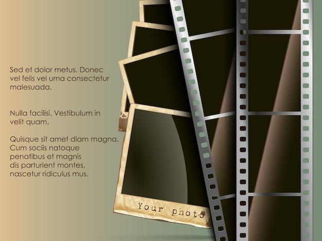 Konzeptioneller hintergrund der alten technologie. film mit foto