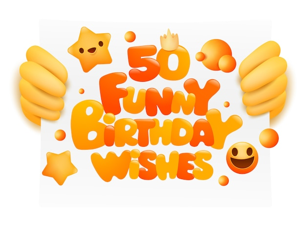 Konzeptkarte mit 50 lustige geburtstagswünschen. emoji-stil