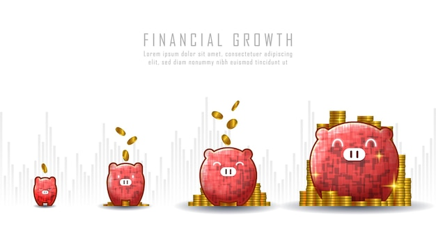Konzeptkunst des finanziellen wachstums mit der idee, münzen in sparschweine zu legen, die für wachstumsgeschäfte oder finanzinvestitionen geeignet sind