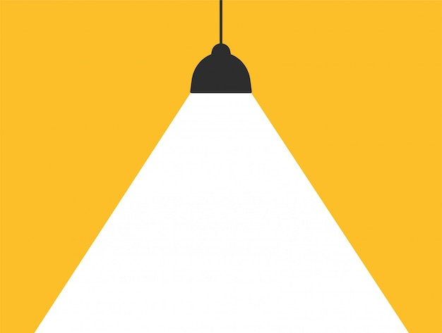 Konzeptlampe, die weißes licht auf einem modernen gelben hintergrund ausstrahlt, um ihre mitteilung zu addieren.