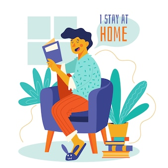 Konzeptlesung zu hause auf der couch bleiben