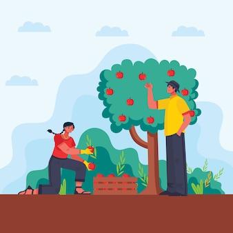 Konzeptmann und -frau des biologischen landbaus