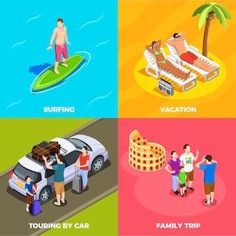 Konzeptstrandurlaub der leute im urlaub isometrische surfende mit dem auto reisende familienreise lokalisiert
