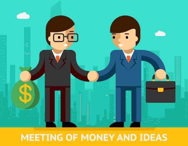 Konzepttreffen von geld und ideen. zwei geschäftsleute und händedruck. übereinstimmung und erfolg. vektorillustration