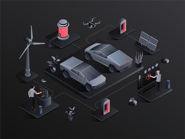 Konzeptvektor des isometrischen alternativen eco grünen energielebensstils der elektroautos infographic.