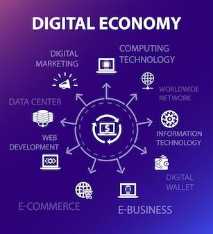 Konzeptvorlage für die digitale wirtschaft. moderner designstil. enthält symbole wie computertechnologie, e-business, e-commerce, rechenzentrum