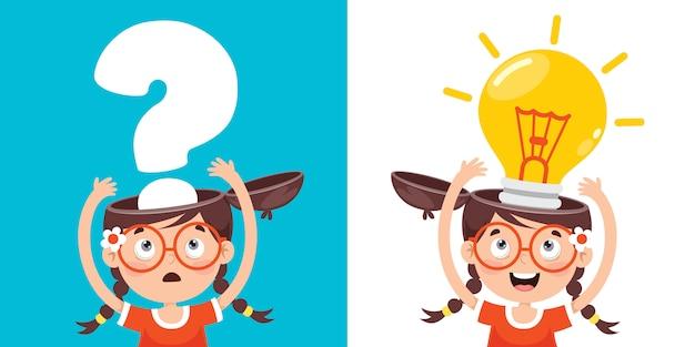 Konzeptzeichnung für kreatives denken