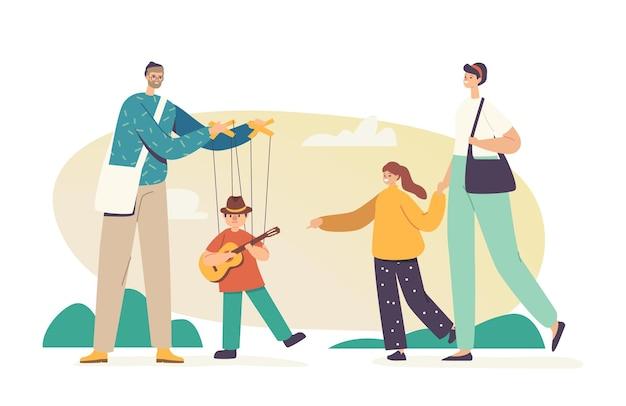 Konzert im freien, meister manipulieren puppenspielzeug, das gitarre spielt, die an saiten hängt. straßenkünstler-puppenspieler-charakter, der show mit marionettenpuppe für familie durchführt. cartoon-menschen-vektor-illustration