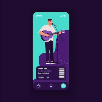 Konzertkarte buchungsanwendung smartphone-schnittstelle vektor-vorlage