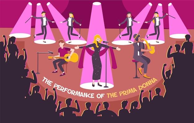 Konzertszene im flachen stil mit aufführung der primadonna und überschrift
