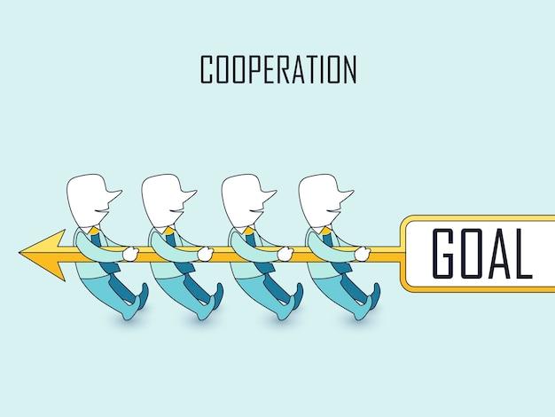 Kooperationskonzept: geschäftsleute, die tauziehen mit ihrem ziel im linienstil durchführen