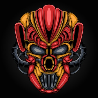 Kopf der außerirdischen kunstillustration des mecha-robotermonsters