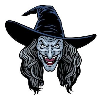 Kopf der bösen hexenfrau