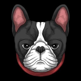 Kopf der französischen bulldogge, der rote kragenkarikaturillustration auf schwarzem hintergrund trägt