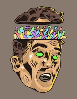 Kopf der menschlichen überdenkenden vektor-illustration
