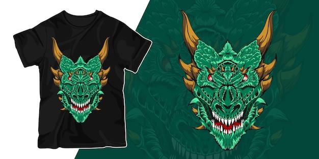 Kopf des drachengrafikillustrations-t-shirt-entwurfs