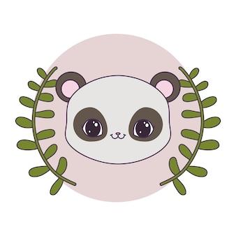 Kopf des pandabären im rahmenrundschreiben mit krone von blättern