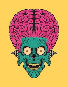 Kopf des retro vintage alien mit großer gehirn-vektor-illustration