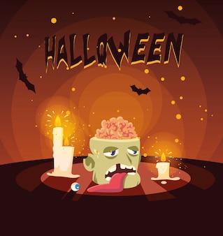 Kopf des zombies in halloween-szenen