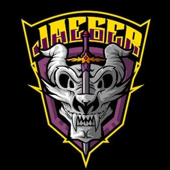 Kopf drachen maskottchen logo vorlage