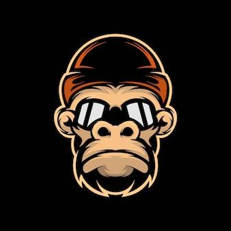 Kopf gorilla hut maskottchen illustration