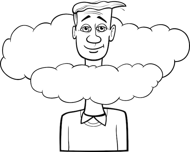 Kopf in den wolken cartoon sagend