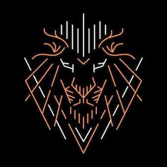 Kopf löwe abstrakt in der hand gezeichnet