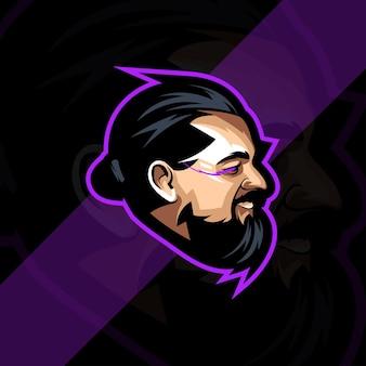 Kopf mann maskottchen logo vorlagendesign