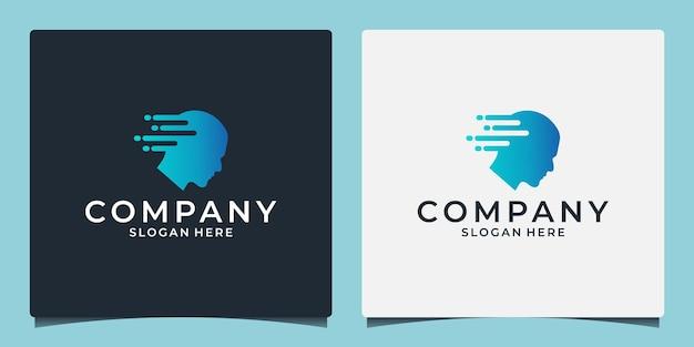 Kopf mensch smart technology logo gehirn mensch künstliches logo typ smart tech logo
