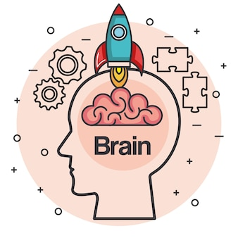 Kopf mit raketengehirn denken idee konzept vektor-illustration