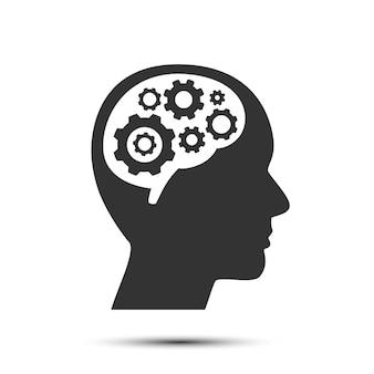 Kopf mit zahnrädern im gehirn, objekt auf weißem hintergrund, vektorillustration