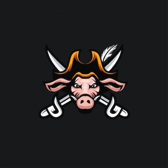 Kopf schwein piraten logo illustration