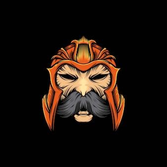 Kopf spartanisches maskottchen illustration