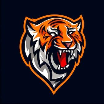 Kopf tiger maskottchen für logo