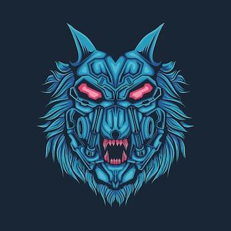 Kopf wolf blau