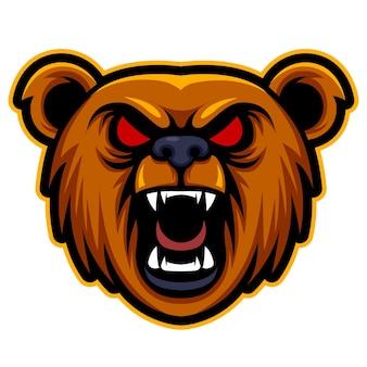 Kopfbär wütend, maskottchen-esport-logo-vektor-illustration