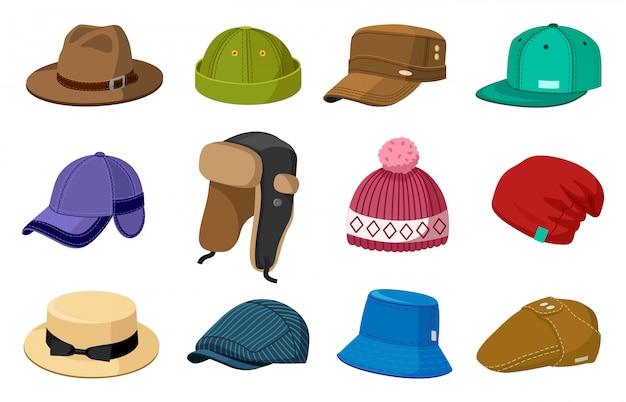 Kopfbedeckungen für mann und frau. elegante moderne und retro hüte und kappen, stilvolle mode männlich und weiblich accessoires illustration ikonen gesetzt. mützenmode für kopf, kopfschmuck und kopfbedeckungen für den winter