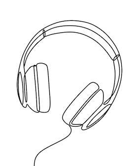 Kopfhörer einzeilige durchgehende liniengrafik