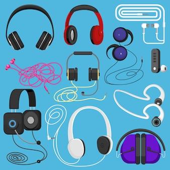Kopfhörer illustration headset zum hören von musik für dj- und audio-kopfhörer geräte illustration stereo-kopfbedeckungen und ohrhörer isoliert eingestellt