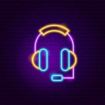 Kopfhörer leuchtreklame. vektor-illustration der wirtschaftsförderung.