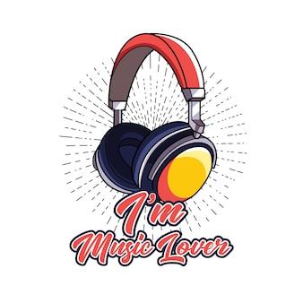 Kopfhörer mit buchstaben für t-shirt-design